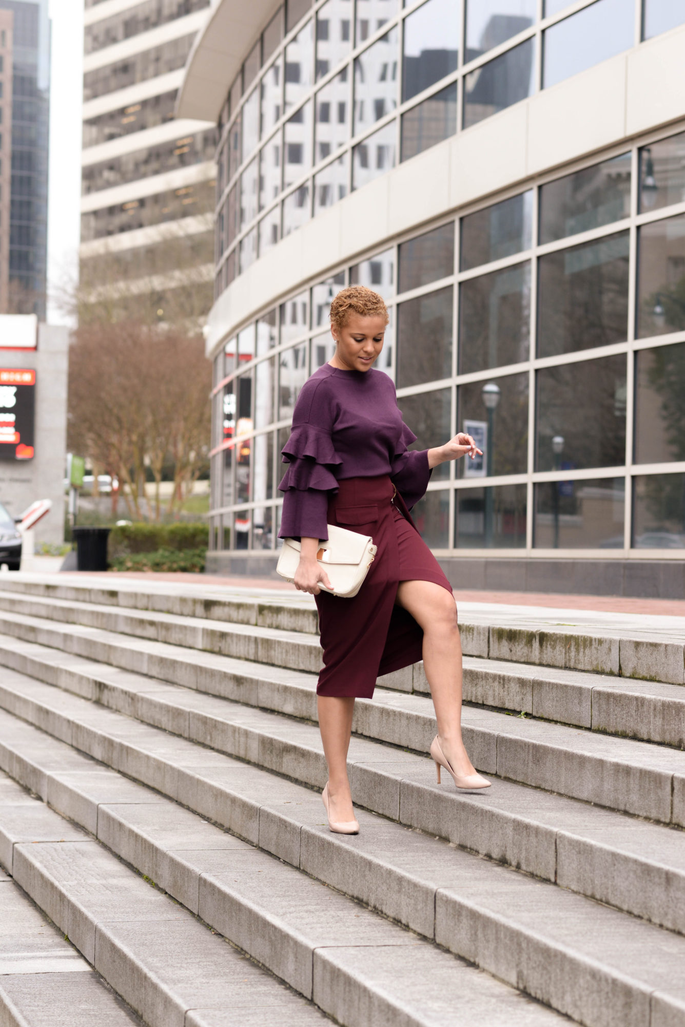 How to Style a Burgundy Pencil Skirt