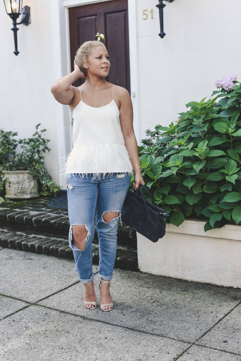 Feathers + Ripped Denim