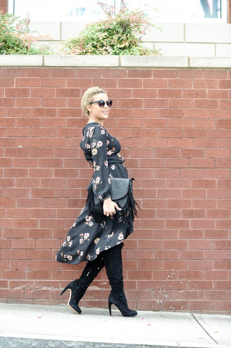 Black Floral Dress + Suede Boots
