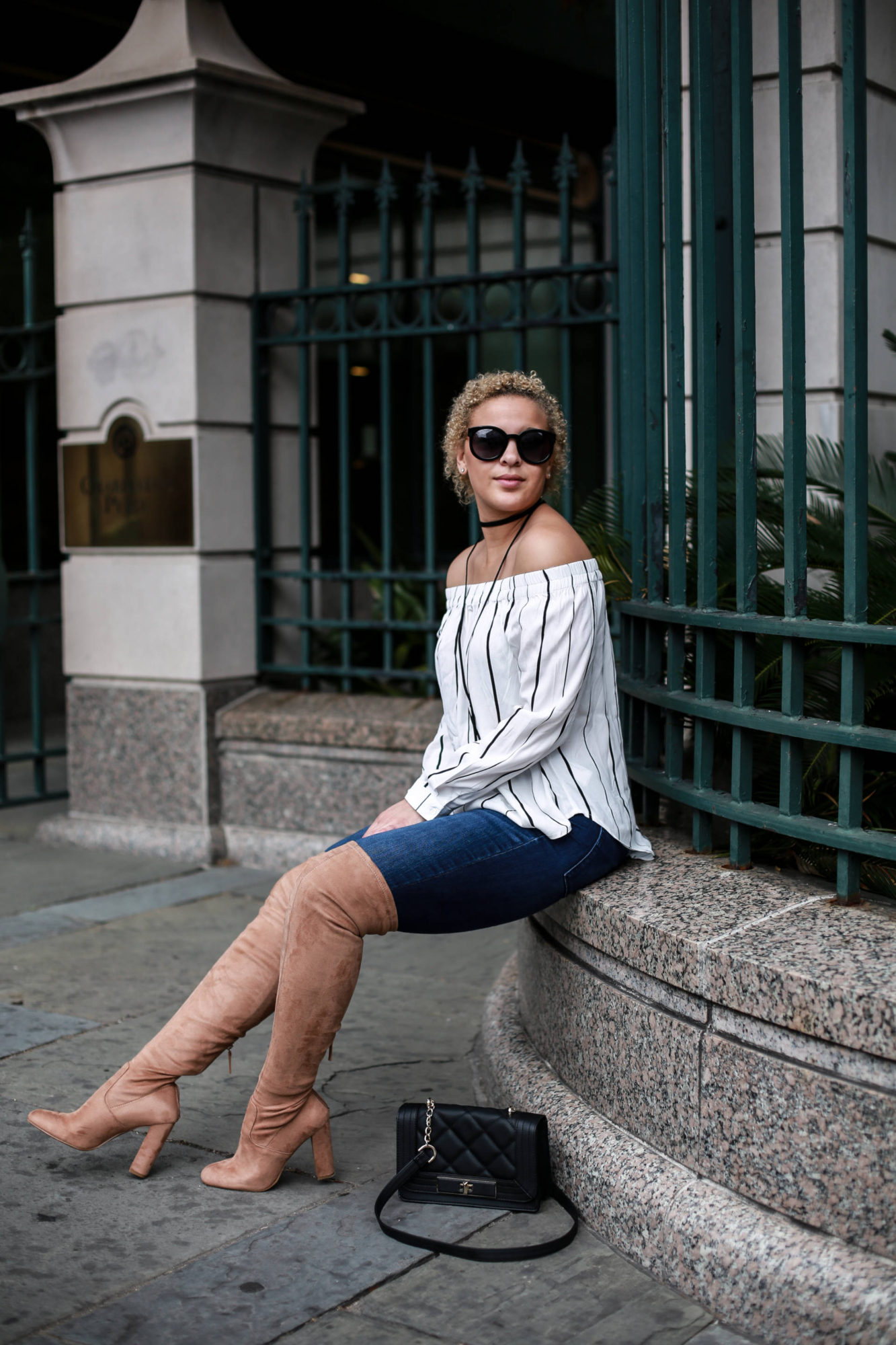 How to Style a Striped Off Shoulder Top