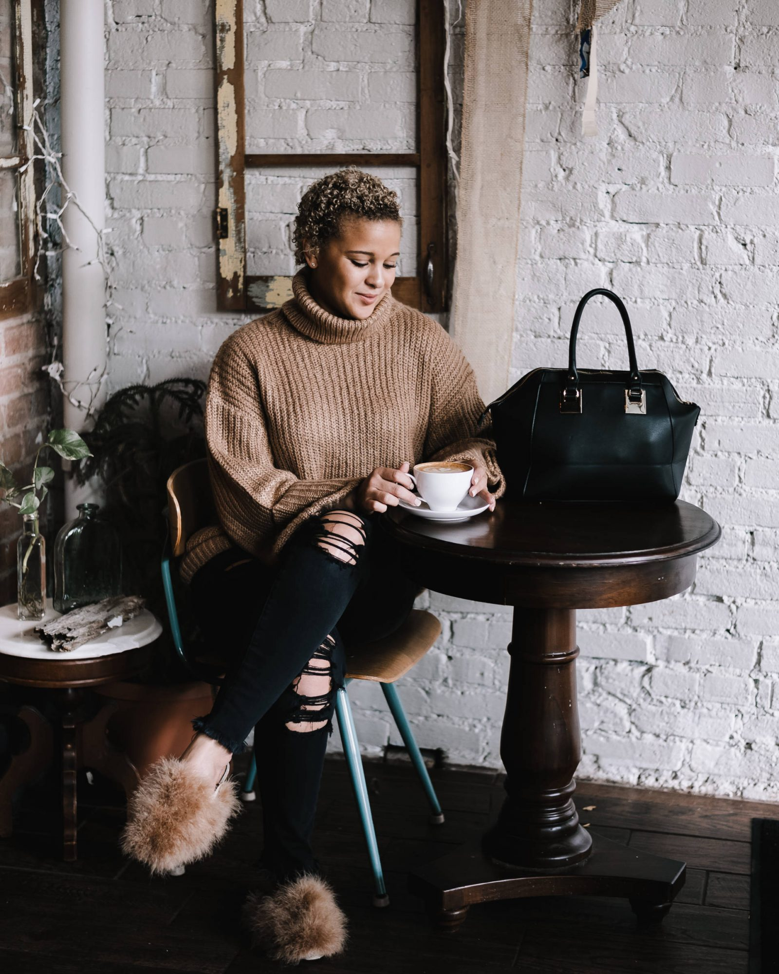 Styling a Camel Sweater for a Fall Morning