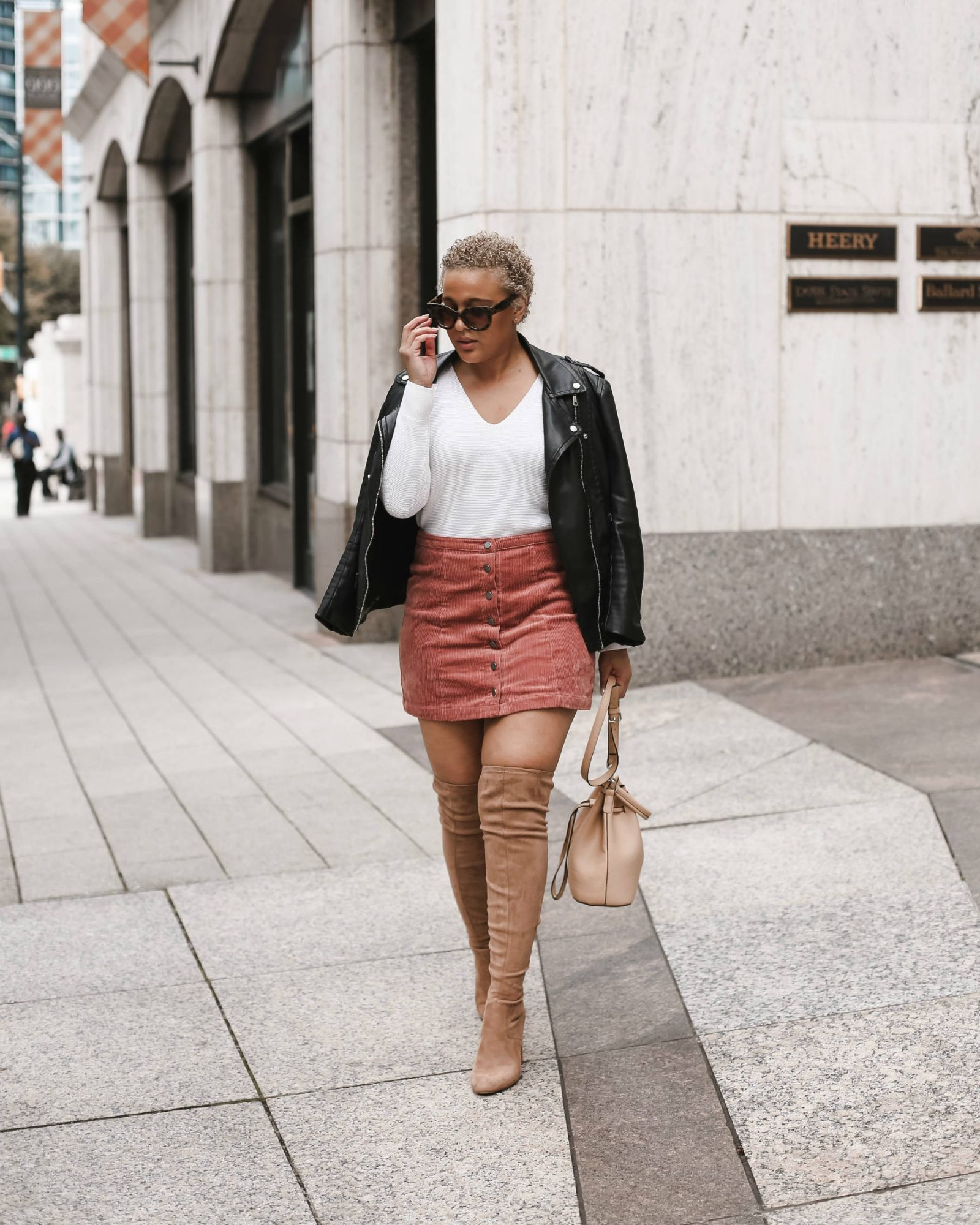 Pink Corduroy Skirt for Fall