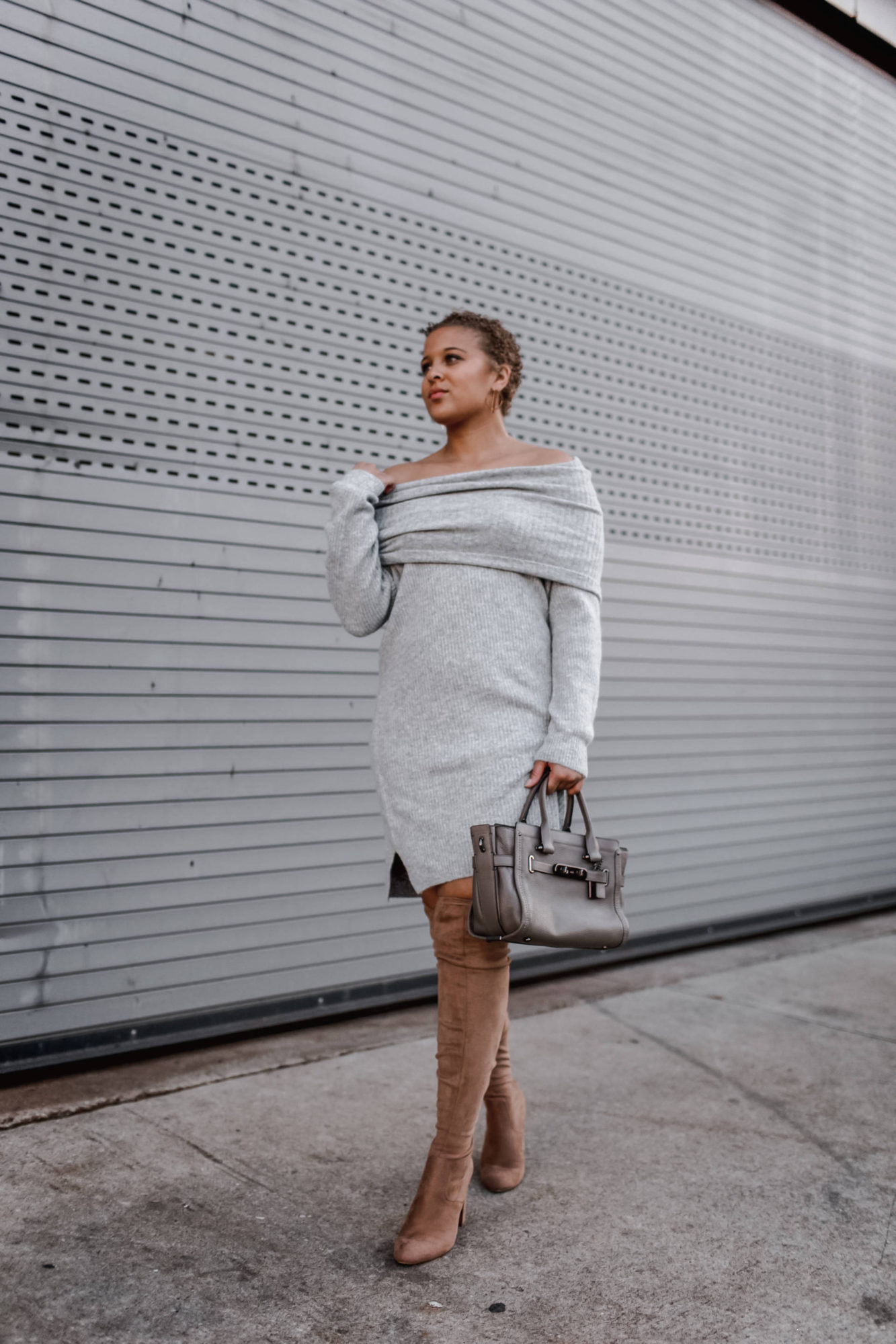 Cozy Grey Sweater Dress