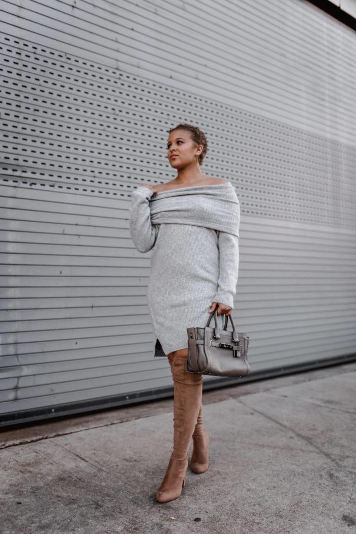 Cozy Grey Sweater Dress