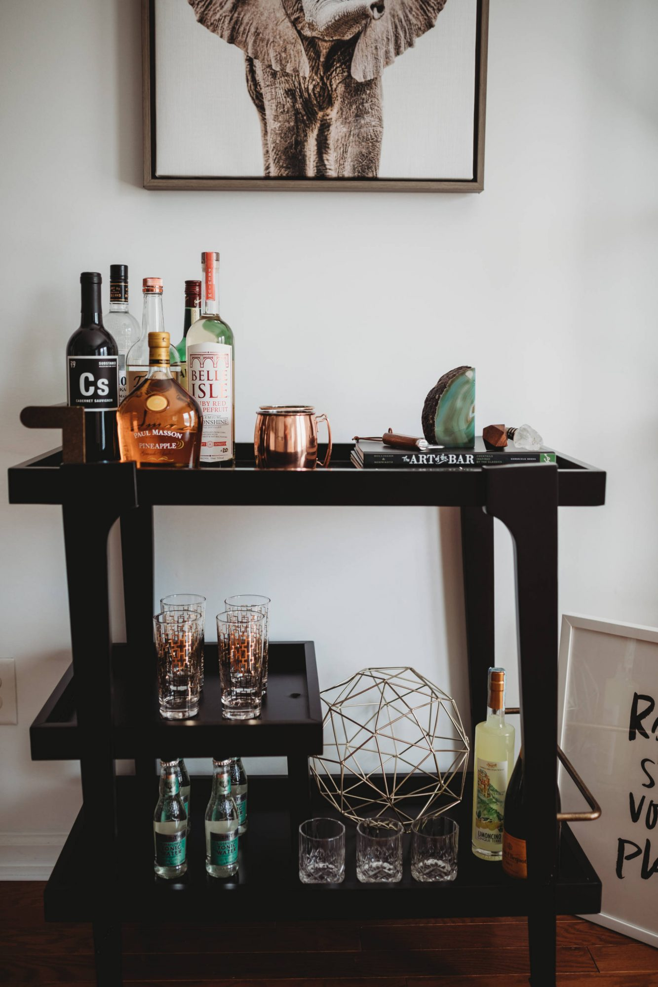 How To Style A Bar Cart Lauren Elyce